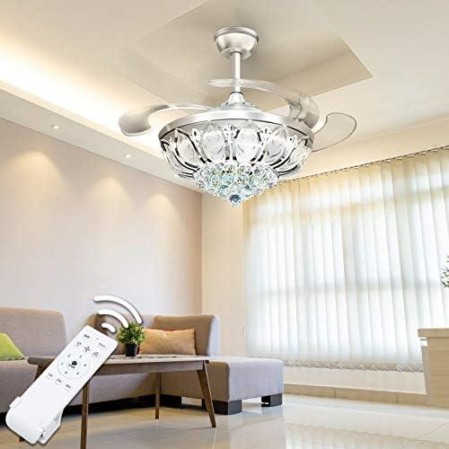 Ridgeyard 42 Crystal Ceiling Lamp Fan Light 3 Light Color LED Fan Chandelier Decorative Pendant Light