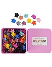 Lady Up 50 Pcs Mini Claw Hair Clips Pin Flower Shaped for Toddler and Little Girls