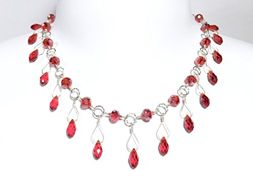 Red Crystal Wire Wrapped Teardrop Beaded Necklace in Sterling Silver