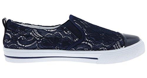 Capelli New York Lace Ladies Slip-on Shoe Navy dG7CUyTTjq