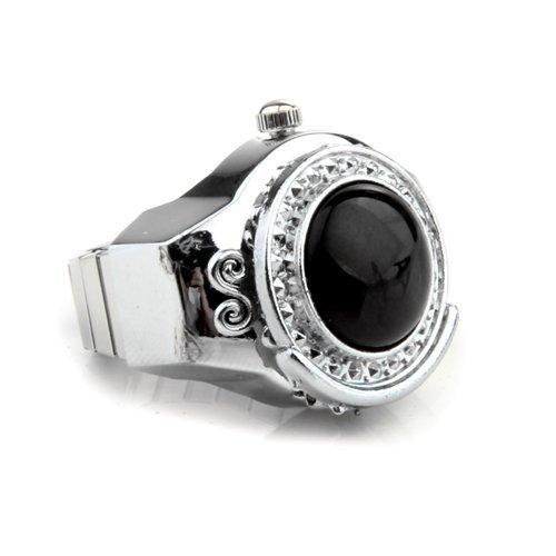Gleader Stretchy Black Round Agate Gem Finger Ring Watch 20mm HOT