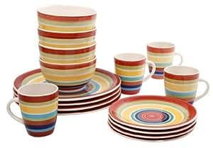 Amazon Com Mainstays Sonoma Stripes 16 Piece Dinnerware