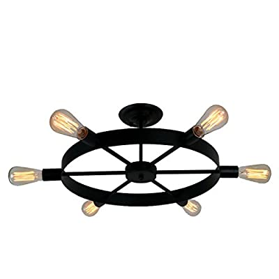Unitary Brand Antique Black Metal Wheel Semi Flush Mount Ceiling Light with 6 E26 Bulb Sockets 240W Painted Finish