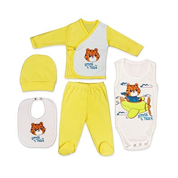 QAR7.3 Completo Vestiti Neonato 9-12 mesi - Set Regalo, Corredino da 5 pezzi: Body, Pigiama, Bavaglino e Cuffietta… 1