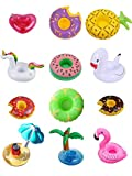 iFun iCool 12 PC Mixed Inflatable Coasters Inflatable Drink Holder Unicorn Float,Fruit Donuts Flamingo Swan Plam Duck Inflatable Pool Cup Holders