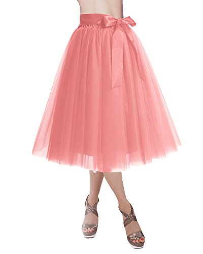 DRESSTELLS Knee Length Tulle Skirt Tutu Skirt Evening Party Gown Prom Formal Skirts Coral M-L]()