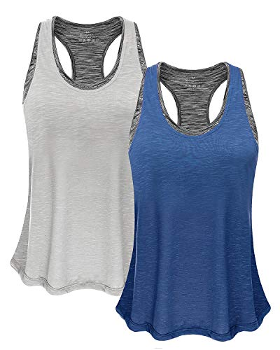 Women Tank Top with Built in Bra, Lightweight Yoga Camisole for Workout Gym Fitness(Light Gray & Dark Blue, S) (Built In Bra Workout Shirts)