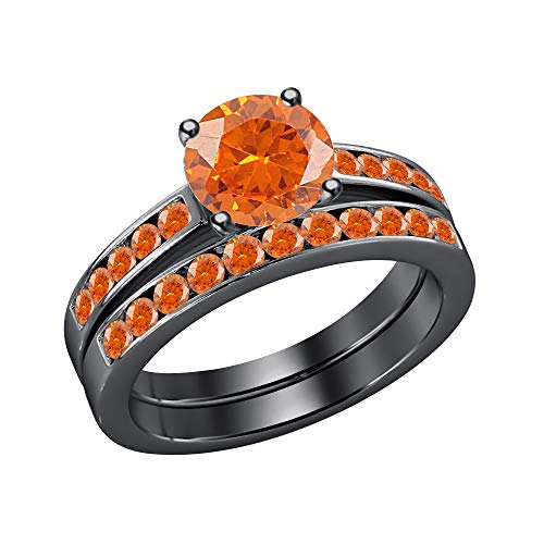 RUDRAFASHION Round Created Orange Sapphire 14K Black Gold Plated Engagement Wedding Bridal Ring Set for Women's .925 Sterling Silver -
