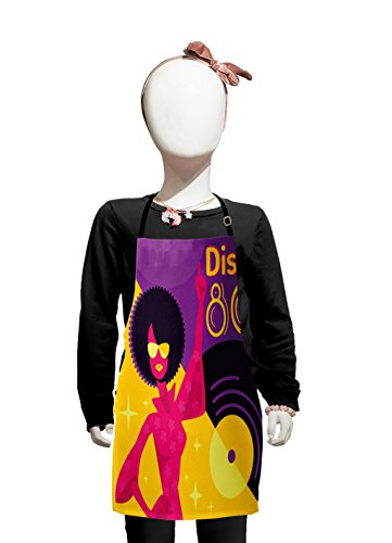 Lunarable Retro Kids Apron, Eighties Poster with Dancing Woman with Afro Hair Disco Record on Backdrop, Boys Girls Apron Bib with Adjustable Ties for Cooking Baking and Painting, Pink Purple Yellow for $<!--$16.99-->