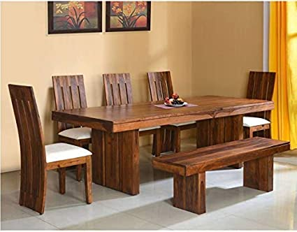 Nisha Furniture Sheesham Wooden Dining Table 8 Seater Dining Table Set With 5 Chairs With Cream Cushions Bench Home Dining Room Furniture Modern Design Honey Brown Finish Amazon In Home Kitchen