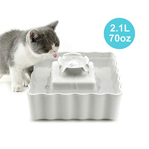 VinDox Ceramic Cat Fountain, 2.1L Pet Drinking Fountain for Cat and Dog, Easy to Clean Ultra Quiet Cat Fountain Porcelain, Cat Water Dispenser with 3 Activated Carbon Filter and Sponge Foam Pre-Filter