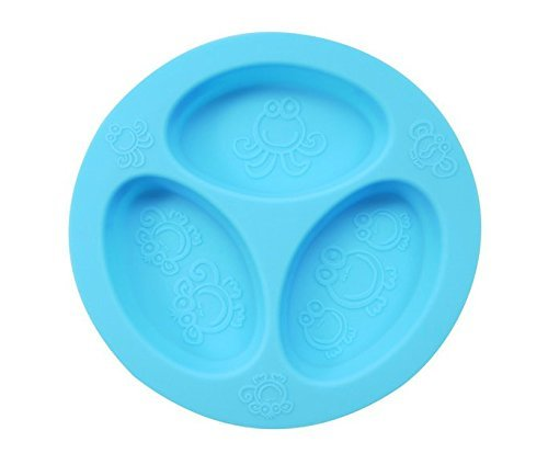 Price comparison product image oogaa Silicone Baby and Toddler Divided Plate - Blue