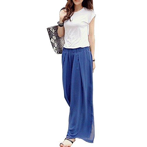 Women's Chiffon Wide Leg Pants Casaul Elastic High Waist Loose Palazzo Pants ()