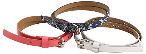 Denim Girls Belt - On the Verge Little Girl's 3 Pack Girls' Belts Accessory, denim pink/silver, Medium/Large
