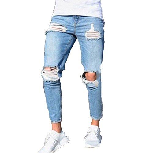 Rotti Pantaloni Tasche Azzurro Blu Uomo Chiaro Fashion Fit Jeans Con Streetwear Casuale Straigh Slim Strappati 4xl 1 S ZX8rYqX
