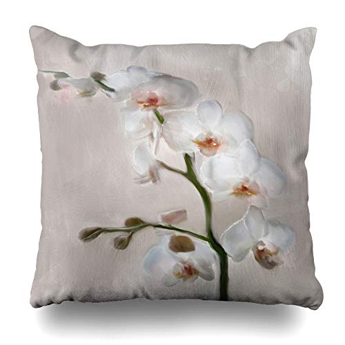 Ahawoso Throw Pillow Cover Watercolor Blooming Orchid Branch Nature Plant Blossom Brushwork Buds Canvas Flower Design Grey Decorative Pillowcase Square Size 18