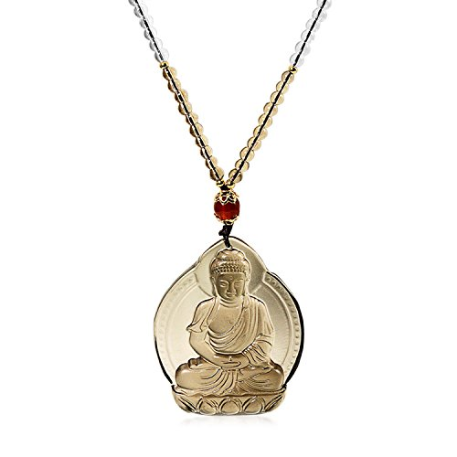 Bling Jewelry Brown Carved Opaque Glass Spiritual Unisex Meditation Large Buddha Pendant Necklace Long Rope 24 in