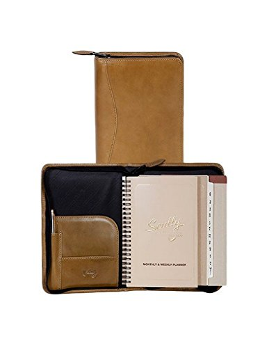 Scully 5045Z-06-26-F Italian Leather Zip Weekly Planner - Aloe by Scully