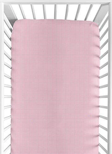 Sweet Jojo Designs Pink Toile Fitted Crib Sheet for Baby and Toddler Bedding Sets - Gingham Print