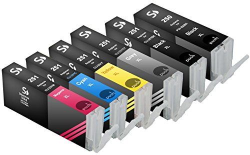 Sherman Inks and Toner Cartridges 6 Pack Compatible PGI-250, CLI-251 Ink Cartridge 1 Big Black, 1 Gray, 1 Small Black, 1 Cyan, 1 Magenta, 1 Yellow Multipack Replacement W/Grey for Inkjet Printers: PIXMA MG5420, PIXMA MG5450, PIXMA MG5520, PIXMA MG6320, (Replacement Yellow Inkjet)