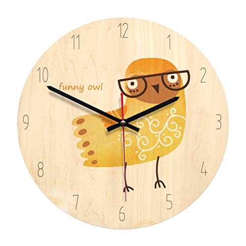 - Zdtxkj 1Pc Round Wall Clock Modern Decorative Owl Pattern Simple Acrylic Wooden Clock Wall Clock for Kitchen Bedroom Office Living Room