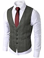 Doublju Mens Casual Button Down Slim Fit Checkered Vest