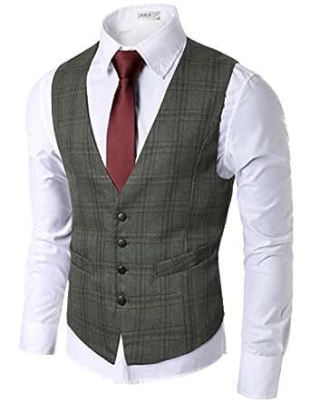 Doublju Mens Trendy Button Down Lightweight Checkered Vest BROWN,(US XS)