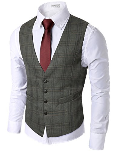 Linen Wool Vest (Doublju Mens Trendy Button Down Lightweight Checkered Vest BROWN,(US XS))