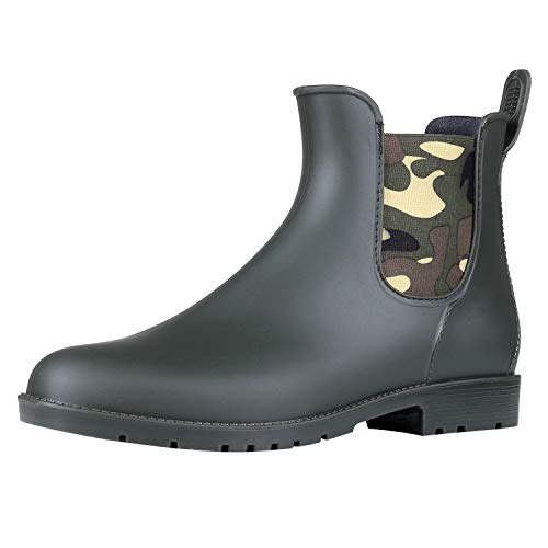 Rainy Day Rubber - Asgard Women's Short Rain Boots Waterproof Slip On Ankle Chelsea Booties CA35 Camouflage