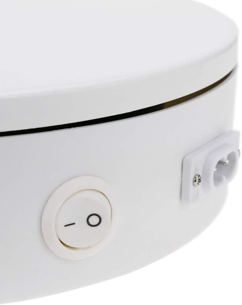 PrimeMatik Base giratoria el/éctrica 20cm blanco plataforma rotatoria