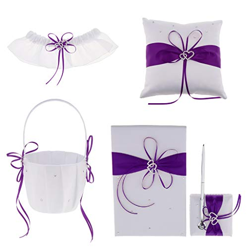 Fenteer Pieces of 5 Wedding Flower Girl Basket Ring Pillow Guest Book Pen Garter Set Double Heart Rhinestone Ribbon Bow Decor Ceremony Party Favor - Purple, as described