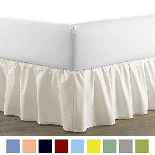 (Kotton Culture Luxurious Adjustable Wrap Around Bed Skirt 100% Egyptian Cotton 300 Thread Count 18 Inch Drop Solid By (White, Queen) (Available in and 29 Colors))