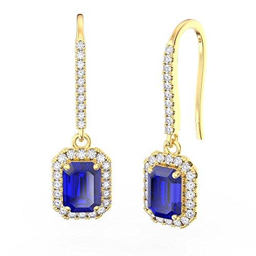 Princesse Saphir et Diamants Argent Sterling Boucles d'oreilles (Coupe émeraude Or jaune)