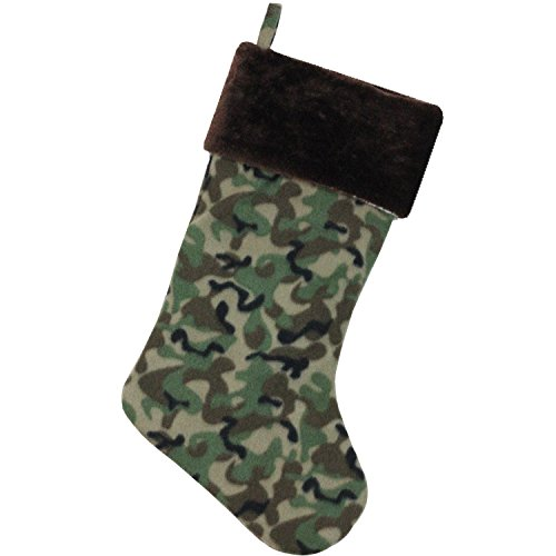 Northlight Camouflage Christmas Stocking with Brown Cuff, 19