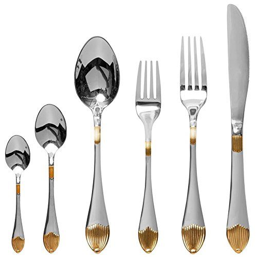 "Venezia Collection ""Provenza"" 75-Piece Fine Flatware Set, Silverware Cutlery Dining Service for 12, Premium 18/10 Surgical Stainless Steel, 24K Gold-Plated Hostess Serving Set"