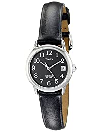 Timex Women's T2N525 Easy Reader Silver-Tone Brass Watch with Black Leather Band