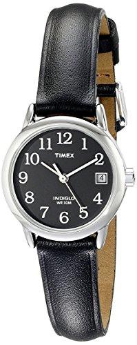 Timex Women's T2N525  Indiglo Leather Strap Watch, Black/Silver-Tone/Black (Light Silver Dial Womens)