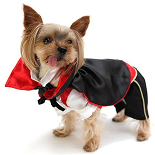 Vampire Cloak Design Elf Pet Dog Cat Halloween Christmas Cosplay Coat Funny Apperal Three Dimensional Winter Clothes (M) - Glow Worm Costume Adults