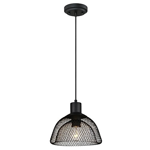 Westinghouse Lighting 6345100 One-Light Pendant Matte Black Finish with Cage - Mesh Ceiling Shade Pendant