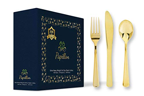 300 Piece Gold Heavyweight Plastic Silverware - Disposable Gold Cutlery Set Includes 100 Forks, 100 Knives, 100 Spoons. Perfect for Parties, Receptions, Golden Anniversaries & Catering Events.