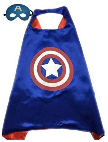 Kids Cape & Mask Superhero Boy Girl Party Costume Set Superman Batman Spiderman Captain America Cape Only