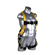 Guardian Fall Protection 1705 Velocity Economy Harness with 3 D Rings Pass Thru Chest and Tongue Buckle Legs, Small/Large