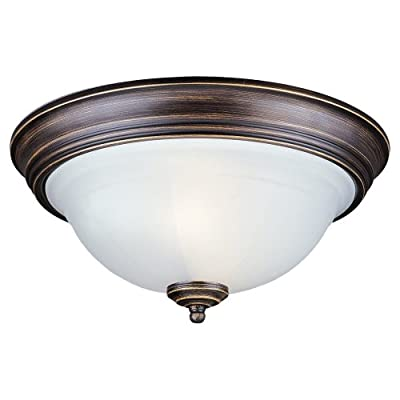 Sea Gull Lighting 2-Light Canterbury Close-to-Ceiling Fixture, Satin Etched Glass