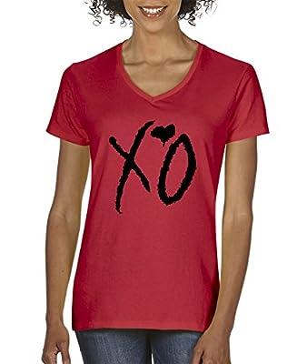 New Way 762 - Women's V-Neck T-Shirt XO The Weeknd Heart Weekend Blackout