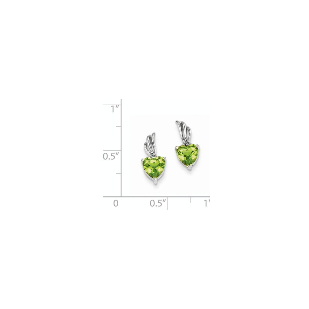 Jewelry Themed Earrings 14K White Gold Diamond and Peridot Heart Post Earrings