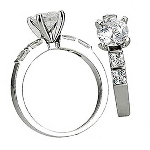 0.40 Carat (Ctw) 14K White Gold Princess Diamond Ladies Bridal Semi Mount Ring Engagement (No Center Stone)