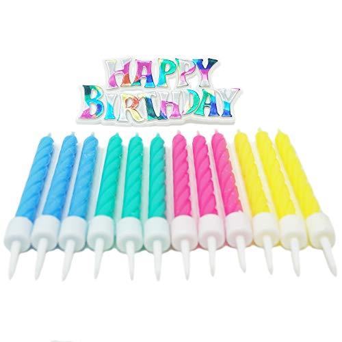 Rainbow Happy Birthday Party Cake Topper Plaque + 12 Assorted Pastel Candles - Happy Birthday Plaque