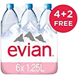 Evian Natural Mineral Water PET 1.25 liters X 6