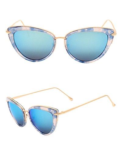 lentes de de Gafas borde Patrón azul Mujer azules canto gafas sol modelo azul Lujo de de Hombre sol azul conducción Clásico de cristalino DESESHENME 8twCqRq