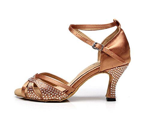 JSHOE Salsa Chacha Sparking Sandals Our38 heeled7 Latin Heels UK5 Shoes Jazz Women's EU37 Crystals 5cm Brown Satin Shoes Modern Tango Samba Dance High zwXzrq